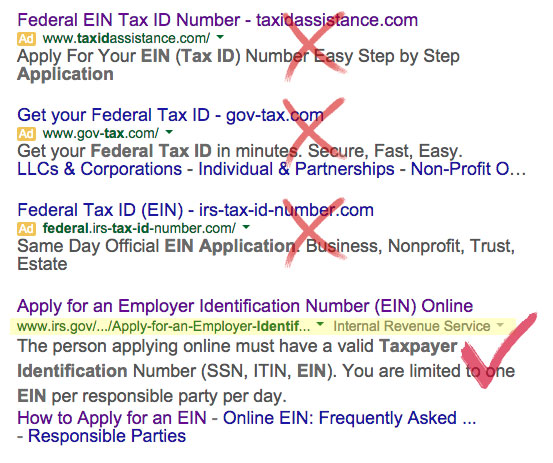Search for the Federal EIN service