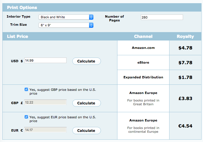 Amazon CreateSpace royalty calculator