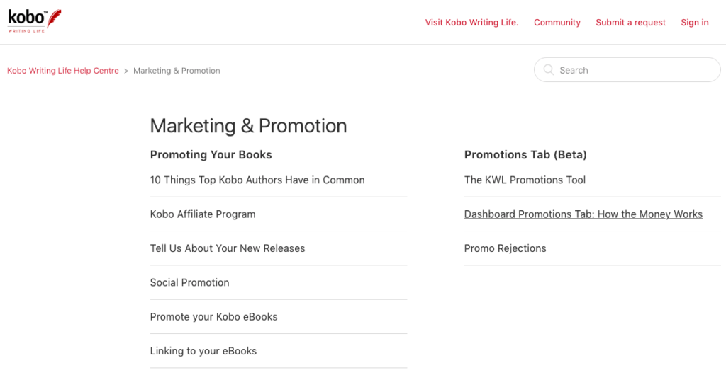Kobo Writing Life Marketing & Promotions Page