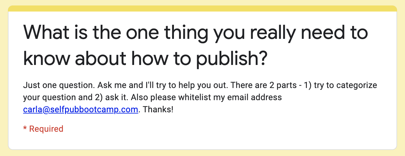 Ask Your Self-Publishing Question