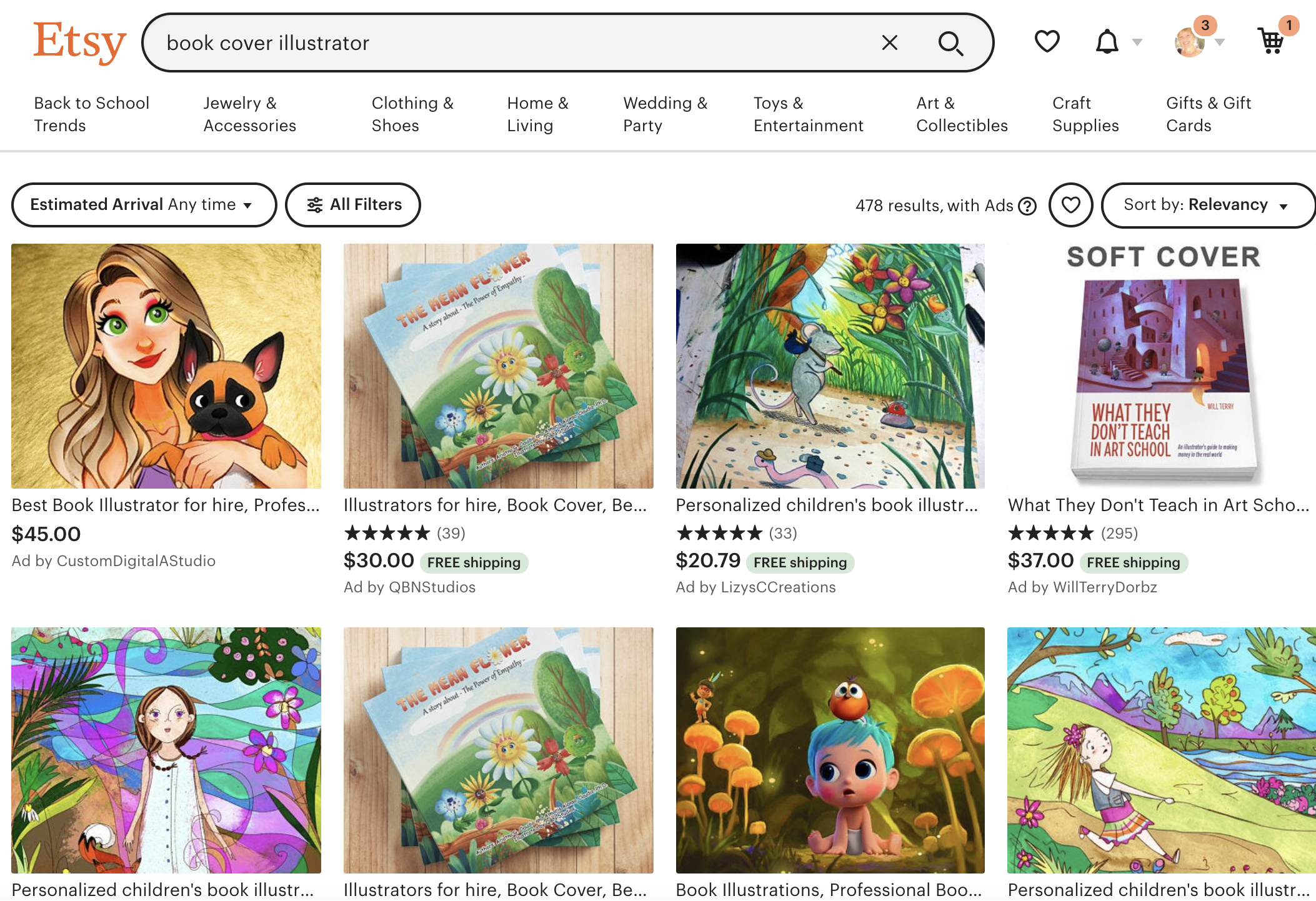 Book Cover Artists on Etsy