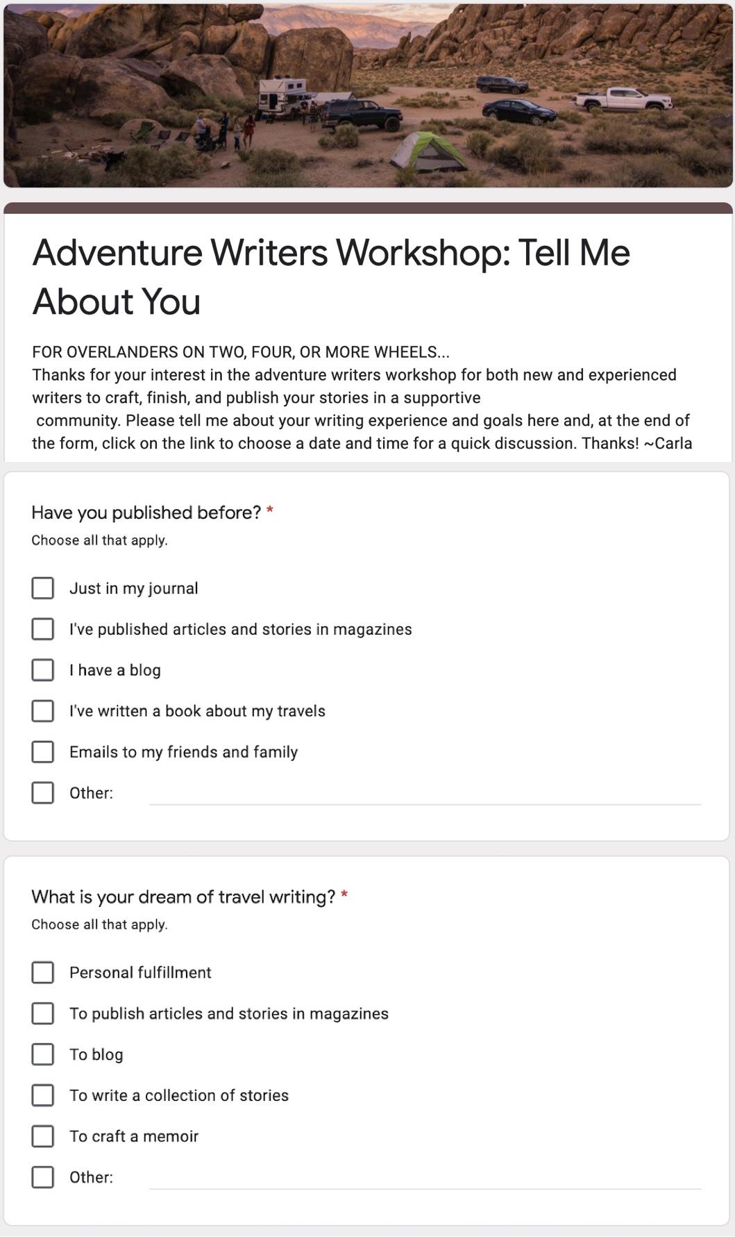 ADV Travel Writer Questions